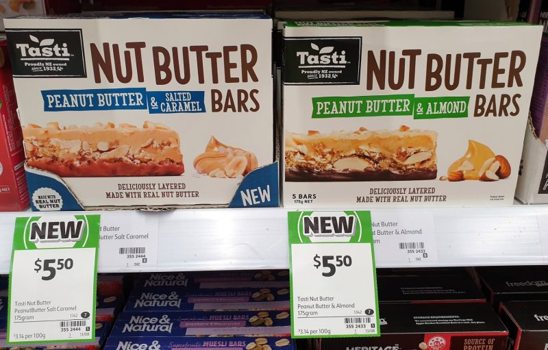 Tasti 175g Nut Butter Bars Peanut Butter & Salted Caramel, Peanut Butter & Almond