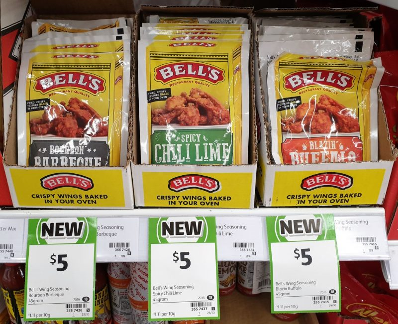 Bell's 45g Wing Seasoning Bourban Barbeque, Spicy Chili Lime, Blazin Buffalo