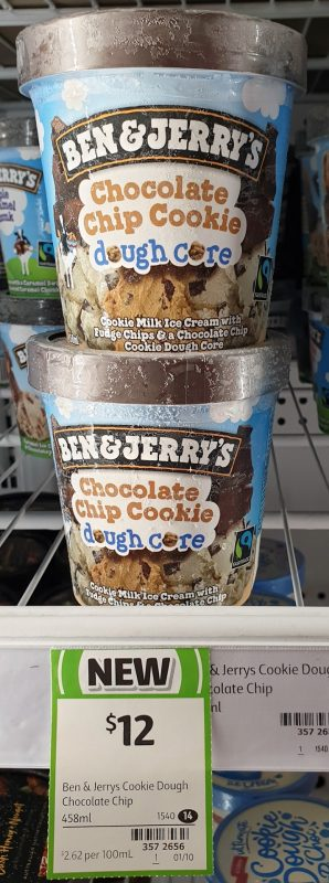 Ben & Jerry's 458mL Ice Cream Chocolate Chip Cookie Dough Core