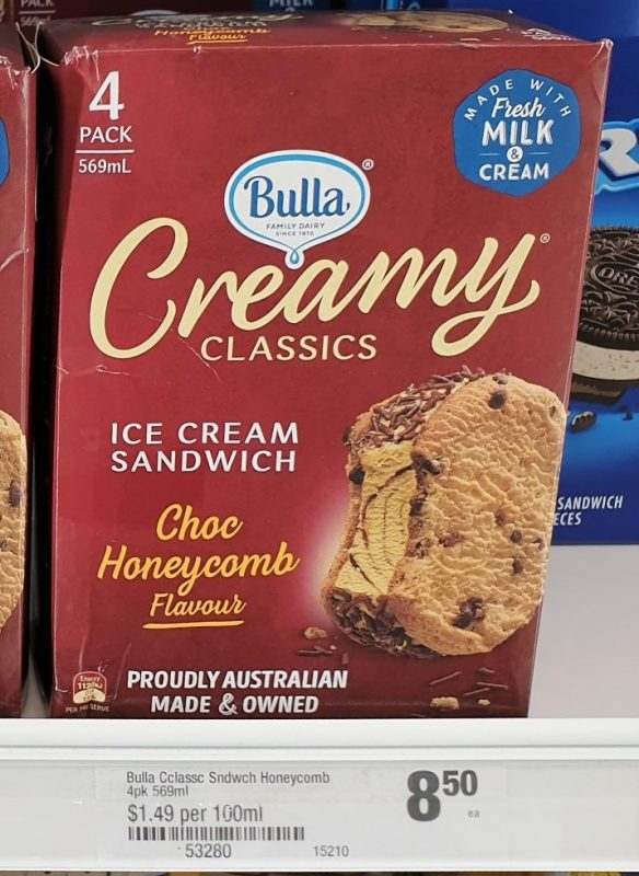 Bulla 569mL Creamy Classics Ice Cream Sandwich Choc Honeycomb Flavour