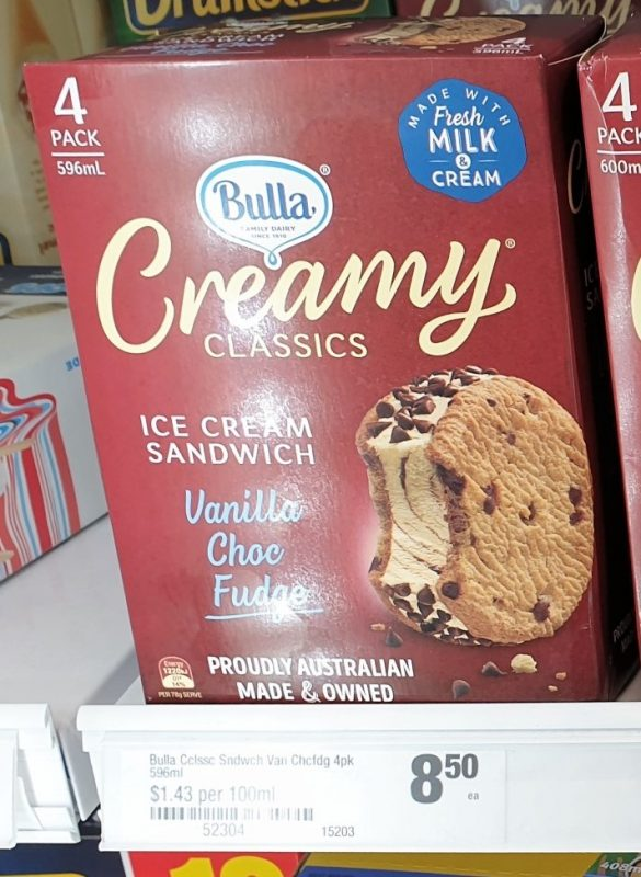 Bulla 596mL Creamy Classics Ice Cream Sandwich Vanilla Choc Fudge