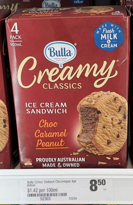 Bulla 600mL Creamy Classics Ice Cream Sandwich Choc Caramel Peanut