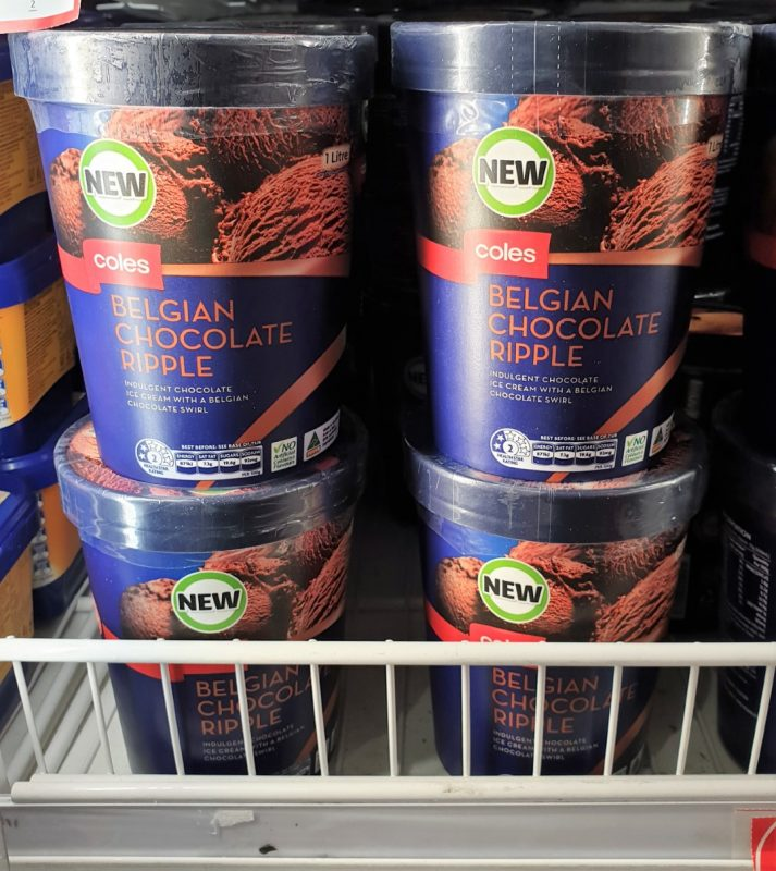 Coles 1L Ice Cream Belgian Chocolate Ripple