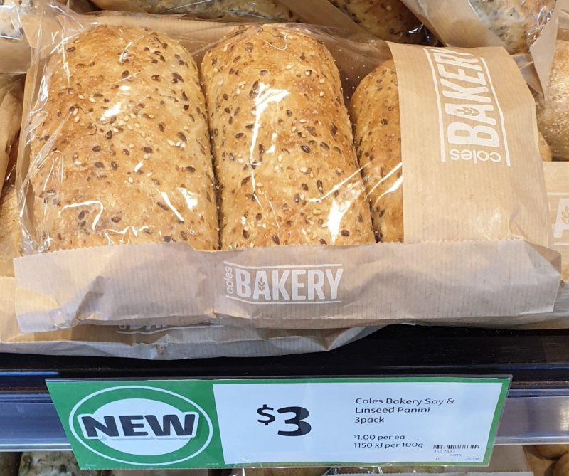 Coles 3 Pack Bakery Panini Soy & Linseed