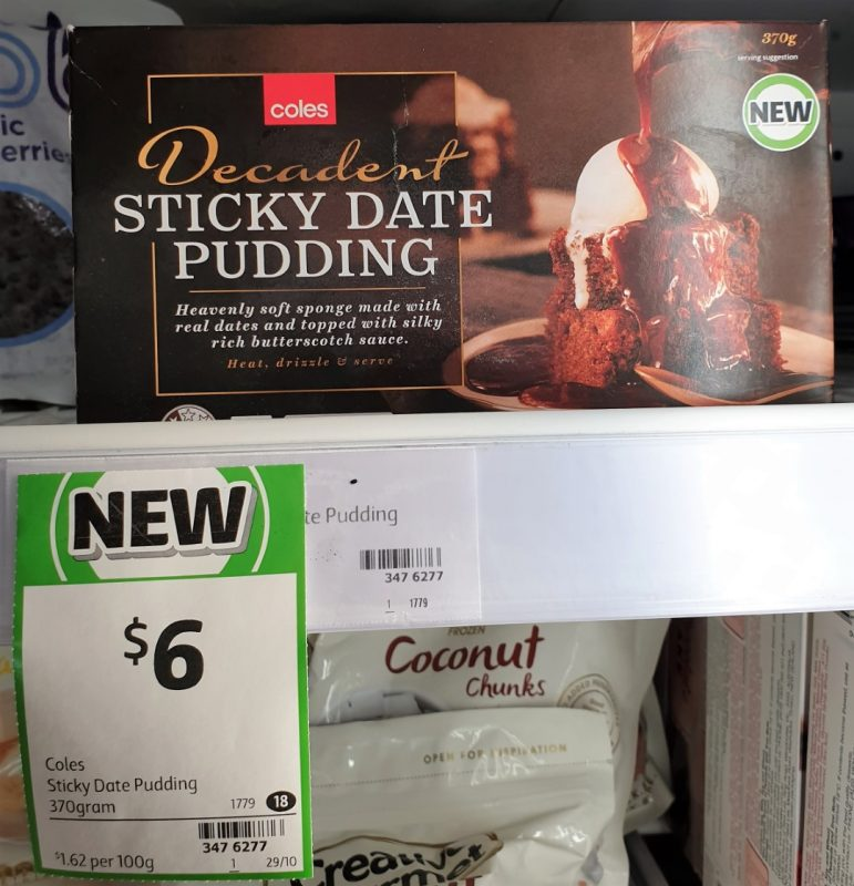 Coles 370g Decadent Pudding Sticky Date