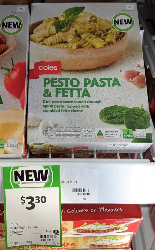 Coles 375g Pesto Pasta & Fetta