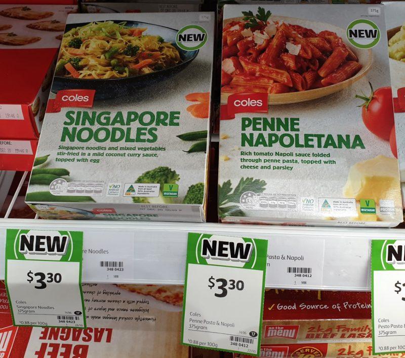 Coles 375g Singapore Noodles, Penne Napoletana