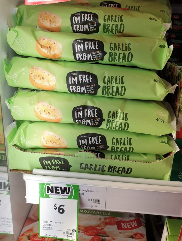 Coles 400g I'm Free From Garlic Bread