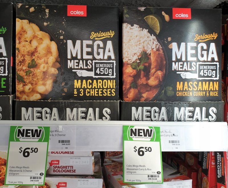 Coles 450g Mega Meals Macaroni & 3 Cheeses, Massaman Chicken Curry & Rice