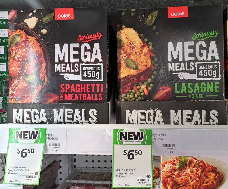Coles 450g Mega Meals Spaghetti & Meatballs, Lasange & 3 Veg