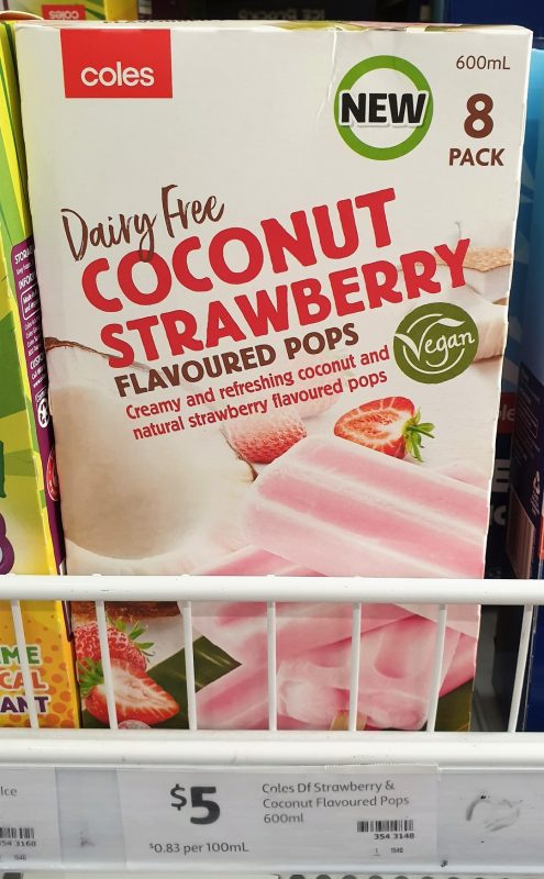 Coles 600g Flavour Pops Dairy Free Coconut Strawberry