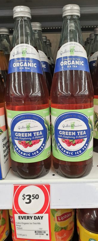 Coles 750mL Green Tea Organic With Raspberry & Hibiscus