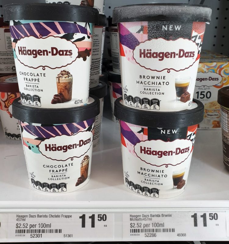 Haagen Dazs 457mL Barista Collection Ice Cream Chocolate Frappe, Brownie Macchiato