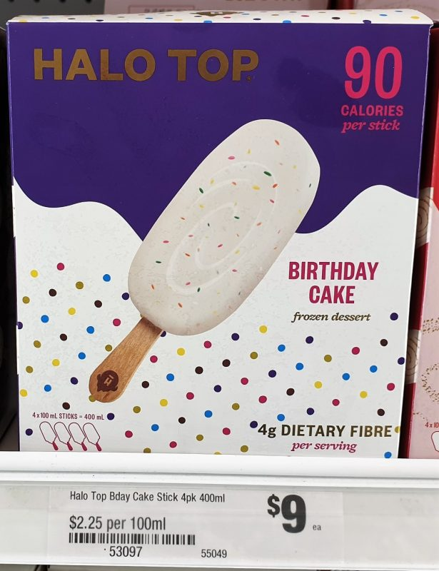 Halo Top 400mL Frozen Dessert Stick Birthday Cake