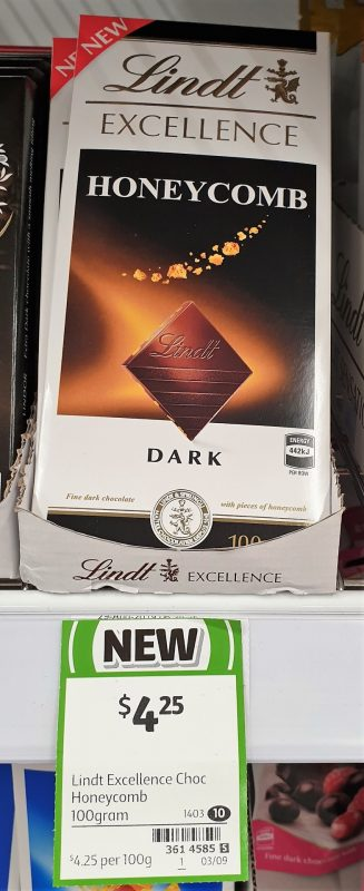 Lindt 100g Excellence Dark Chocolate Honeycomb