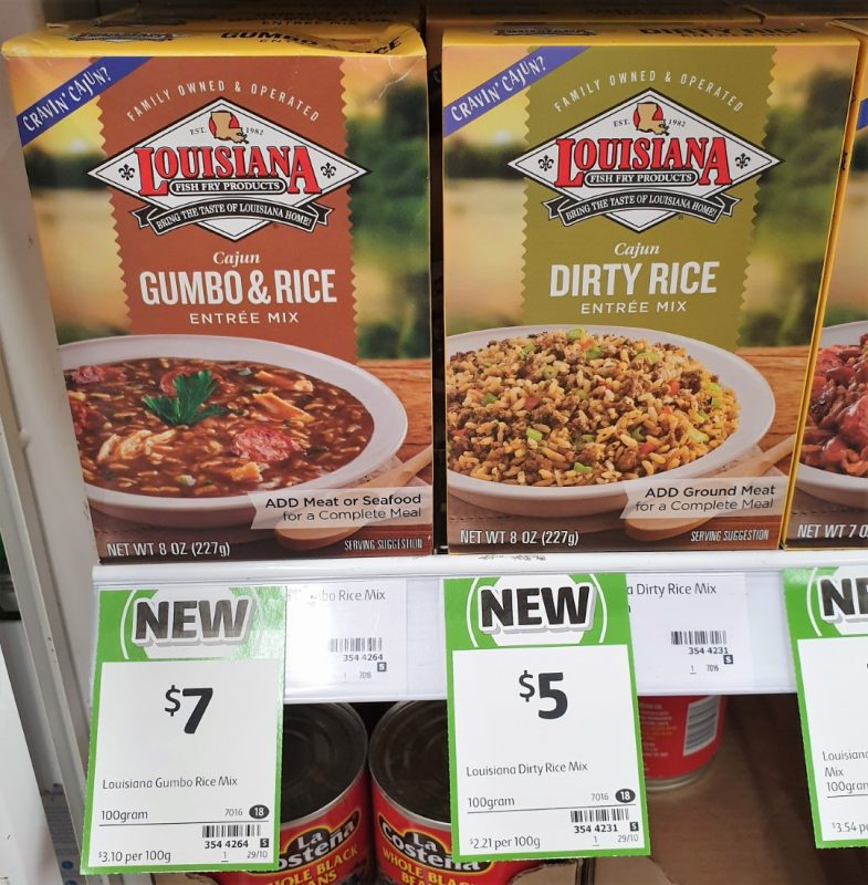 Louisiana 100g Entree Mix Cajun Gumbo & Rice, Dirty Rice