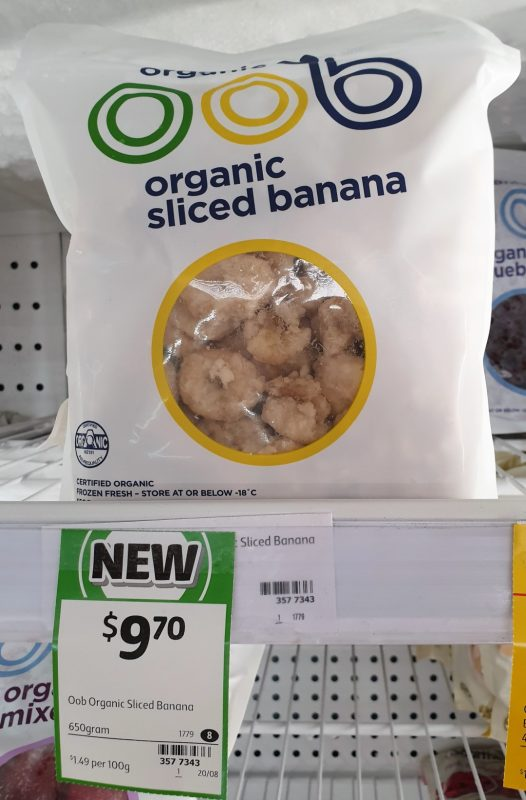 OOB 650g Banana Sliced Organic
