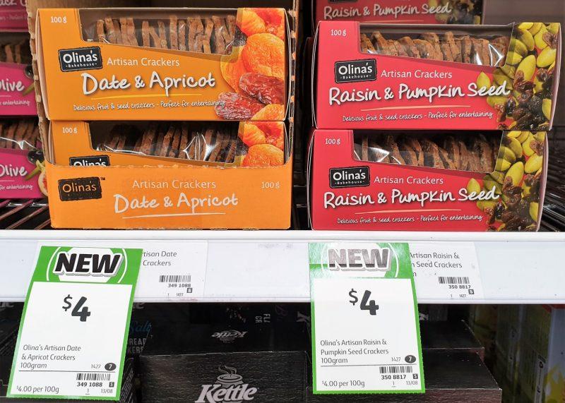 Olina's Bakehouse 100g Crackers Artisan Date & Apricot, Raisin & Pumpkin Seed