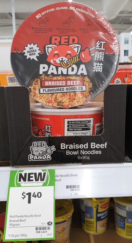 Red Panda 90g Flavoured Noodles Tom Yum Braised Beef