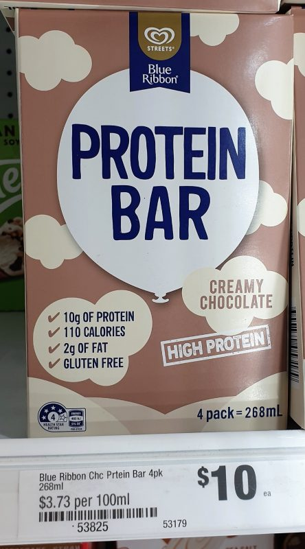 Streets 268mL Blue Ribbon Protein Bar Creamy Chocolate