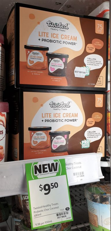 Twisted Healthy Treats 480mL Lite Ice Cream + Probiotic Power Salted Caramel & Vanilla, Chocolate & Vanilla