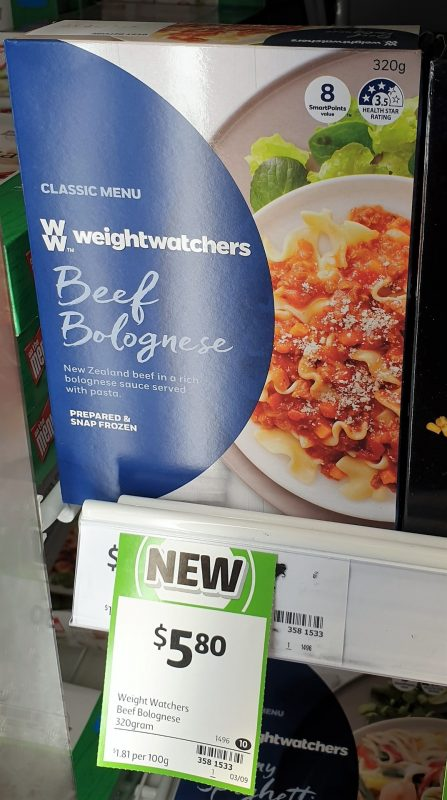 Weight Watchers 320g Classic Menu Beef Bolognese