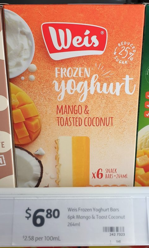 Weis 264mL Frozen Yoghurt Mango & Toasted Coconut