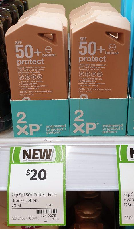2XP 70mL Protect Face Bronze SPF 50+