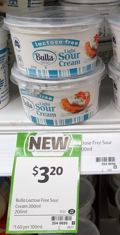 Bulla 200mL Sour Cream Light Lactose Free
