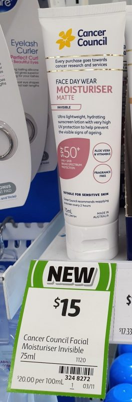 Cancer Council 75mL Face Day Wear Moisturiser Matte Invisible SPF50+