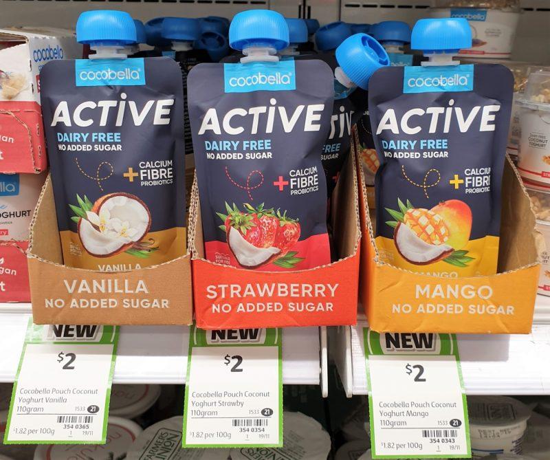 Cocobella 110g Active Dairy Free Vanilla, Strawberry, Mango
