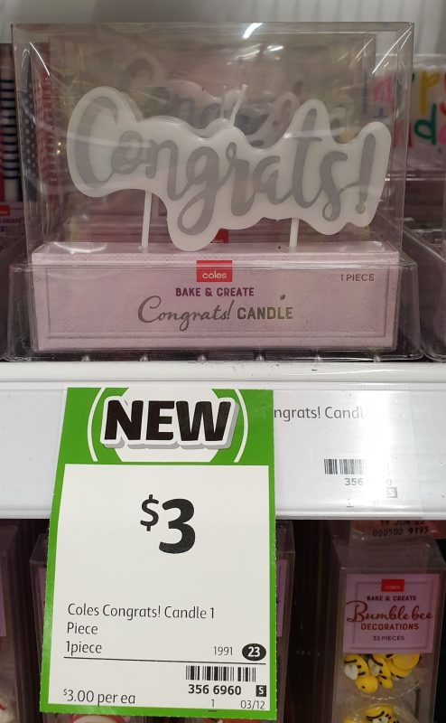 Coles 1 Pack Bake & Create Candles Congrats!