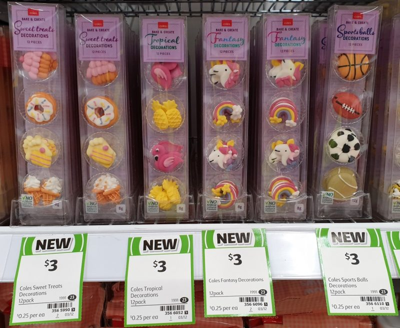 Coles 12 Pack Bake & Create Decorations Sweet Treats, Tropical, Fantasy, Sports Balls