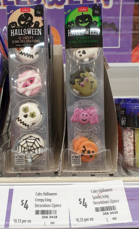 Coles 12 Pack Icing Decorations Halloween Creepy Spooky