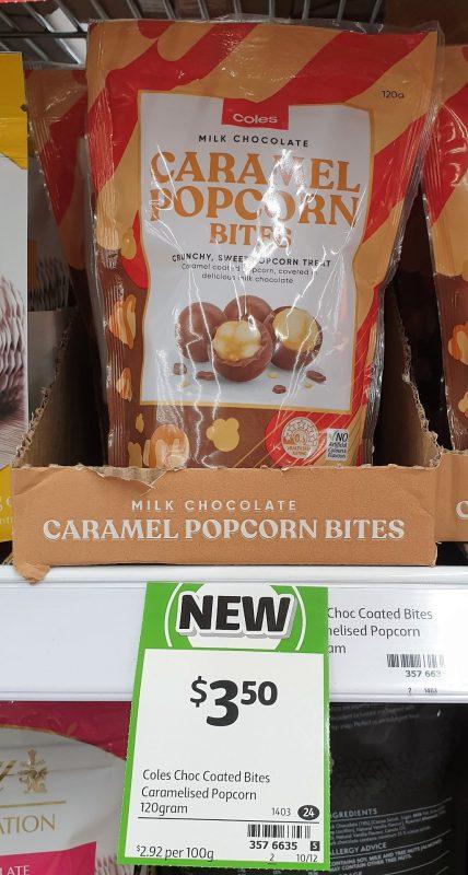 Coles 120g Milk Chocolate Bites Caramel Popcorn