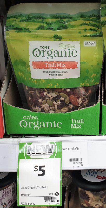 Coles 180g Organic Trial Mix