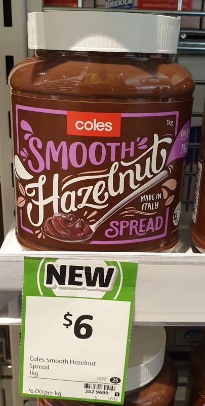 Coles 1kg Hazelnut Spread Smooth