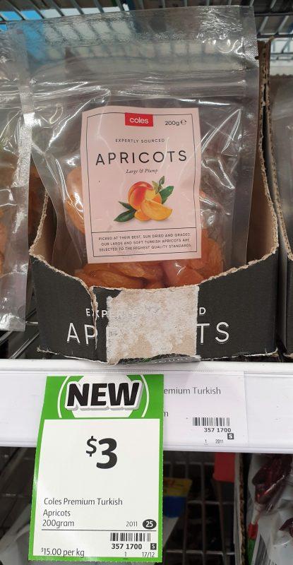 Coles 200g Apricots