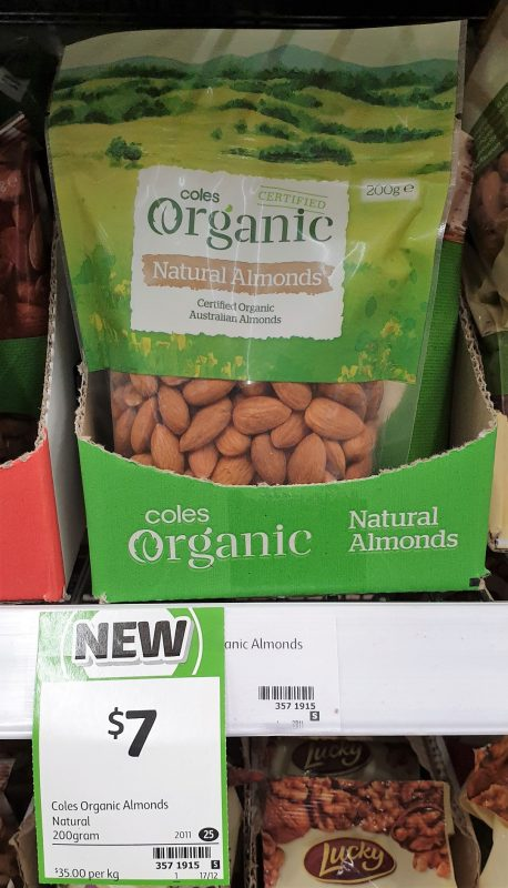 Coles 200g Organic Almonds Natural