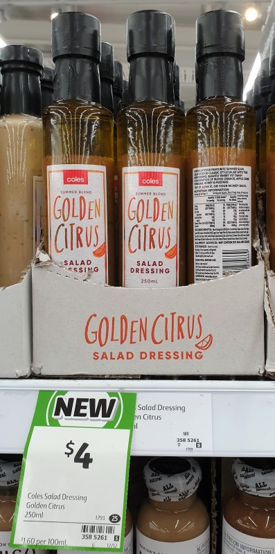 Coles 250mL Salad Dressing Golden Citrus