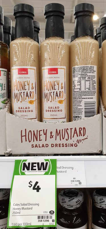Coles 250mL Salad Dressing Honey & Mustard