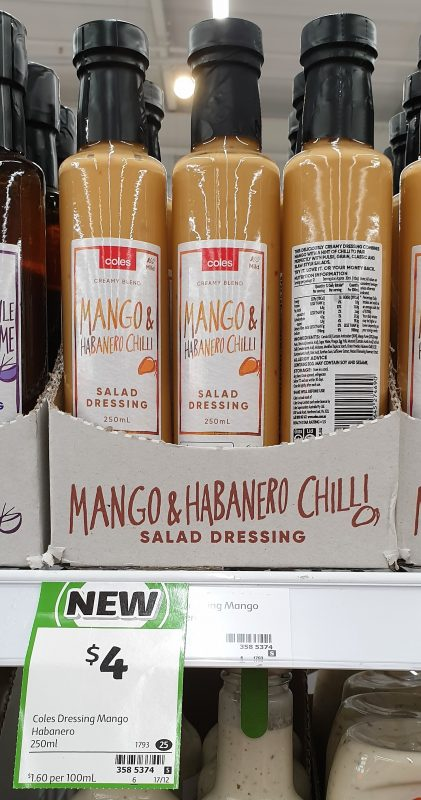 Coles 250mL Salad Dressing Mango & Habanero Chilli
