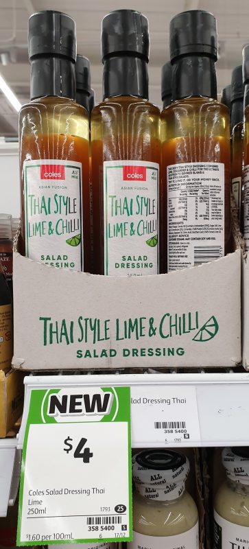 Coles 250mL Salad Dressing Thai Style Lime & Chilli