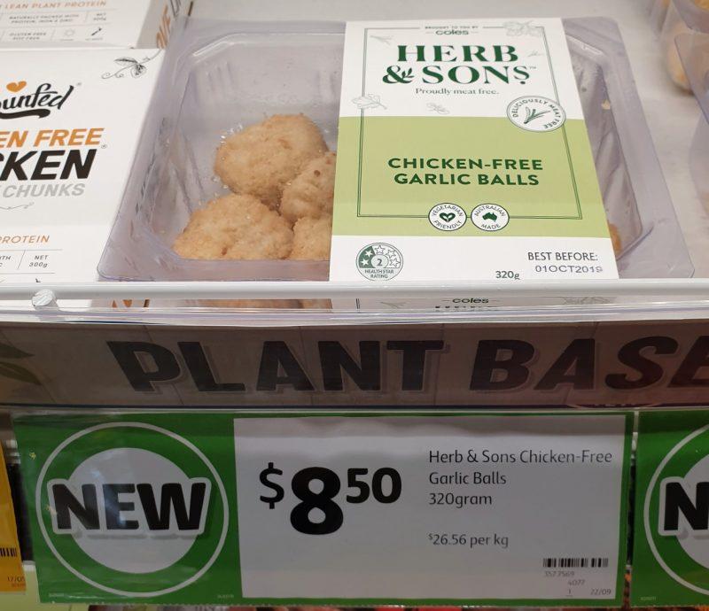 Coles 320g Herb & Sons Chicken Free Garlic Balls
