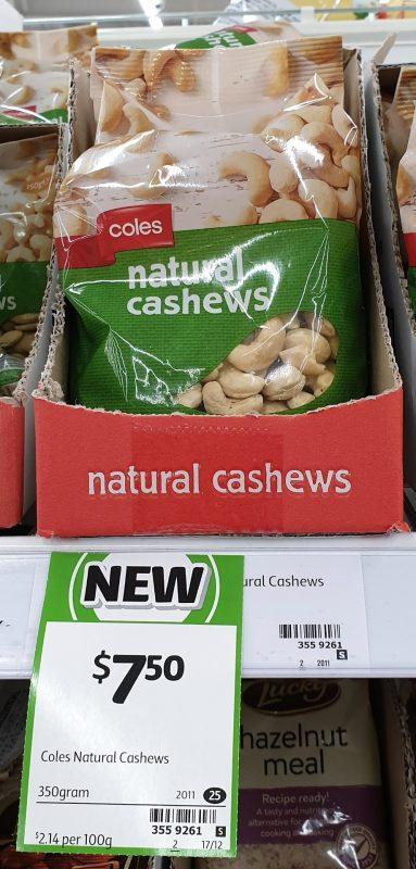 Coles 350g Cashews Natural