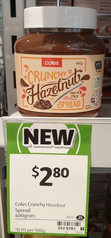 Coles 400g Hazelnut Spread Crunchy