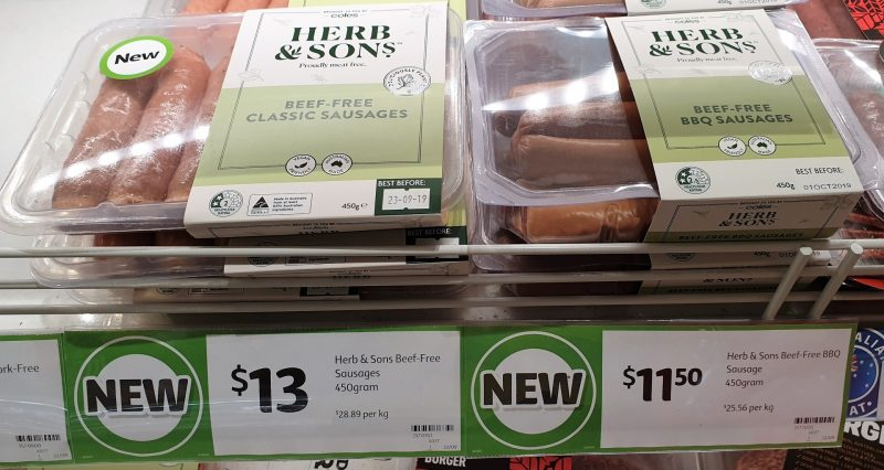 Coles 450g Herb & Sons Beef Free Sausages Classic, BBQ