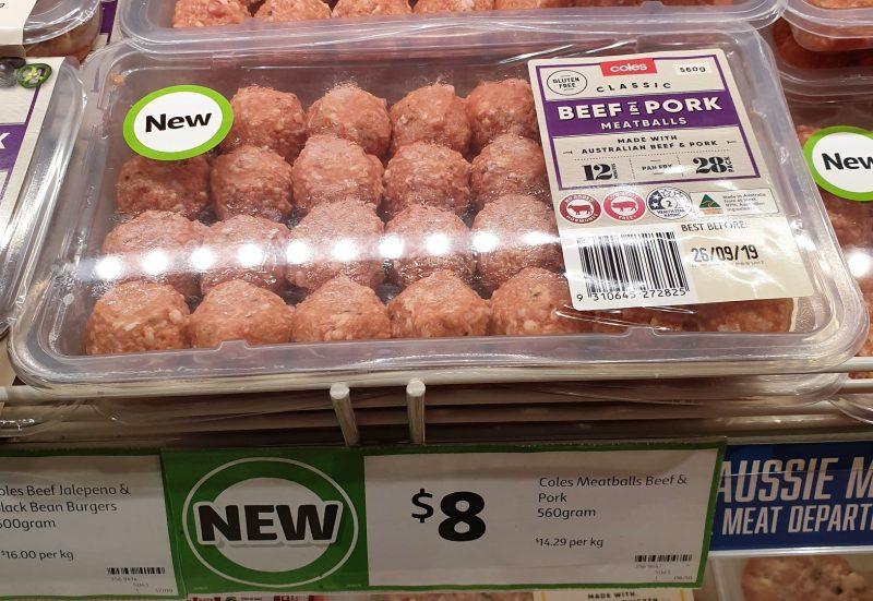 Coles 560g Meatballs Beef & Pork