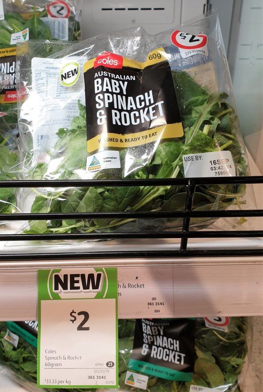 Coles 60g Baby Spinach & Rocket