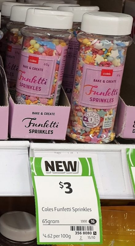 Coles 65g Bake & Create Sprinkles Funfetti